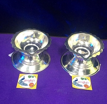 Silver Small Diya Pair