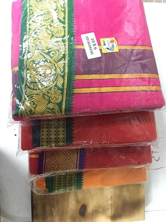 Assorted Colours Siva Paravathi Dhothies 10 by 6