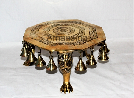 Brass Lion Foot Stand With Bells
