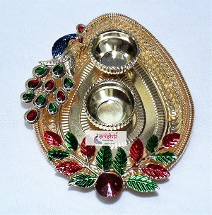 SKS Peacock Kumkum container Ring Border 01